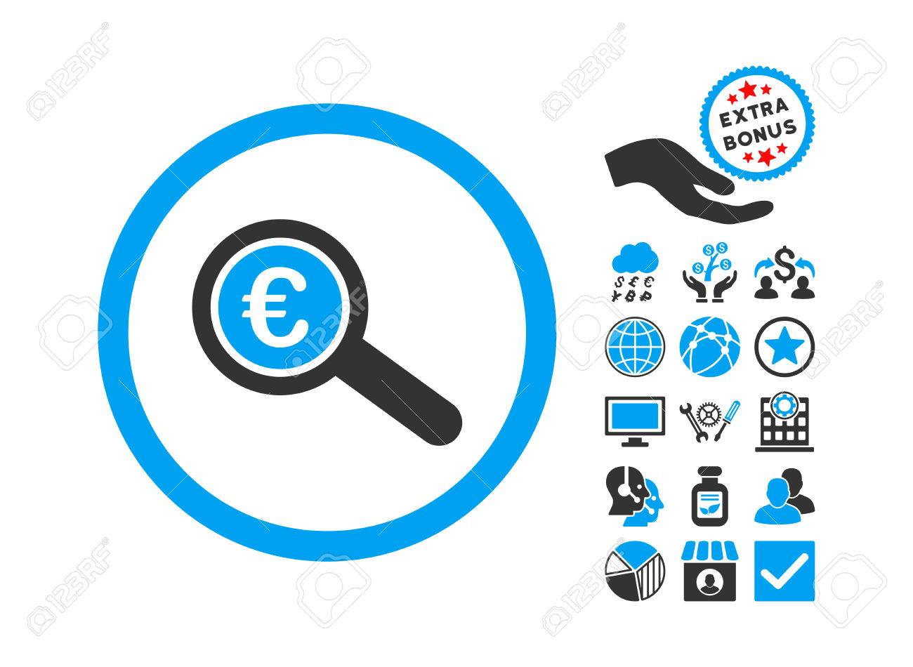 Euro Financial Audit icon with bonus clip art. Vector illustration...