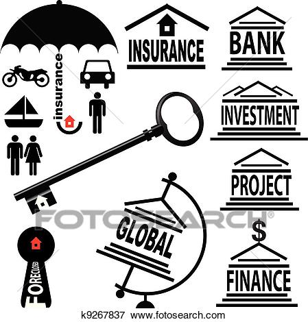 Financial symbols Clip Art.