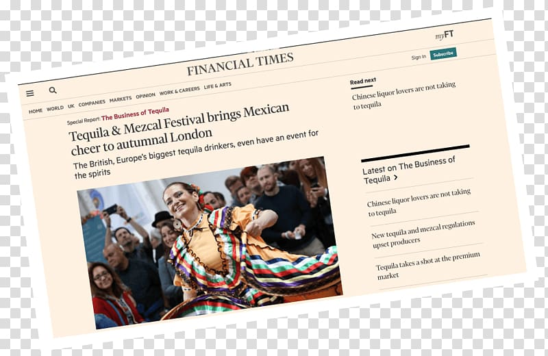 Mezcal Tequila Advertising Financial Times Finance, october.