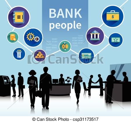 Vector Clip Art of Financial world bank people concept banner.