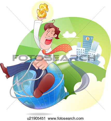 Clipart of Riding the Financial World u21905451.