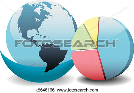 Clip Art of Global financial economy pie chart world k5646166.