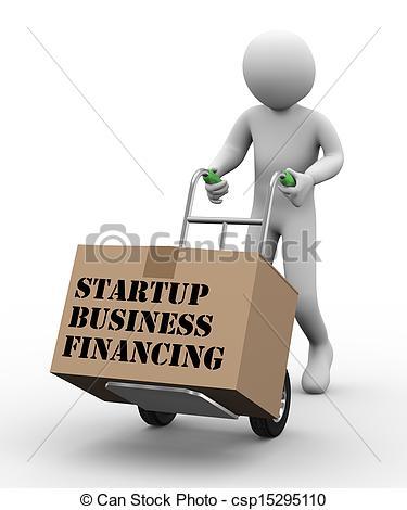 Clipart of 3d man hand truck business financing.
