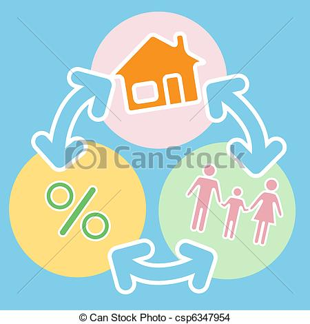 EPS Vector of Family Home Mortgage Loan Financing Process.