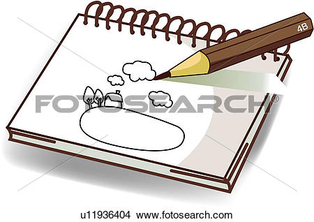 Clipart of sketchbook, printing, pencil, fine art, sketch, drawing.