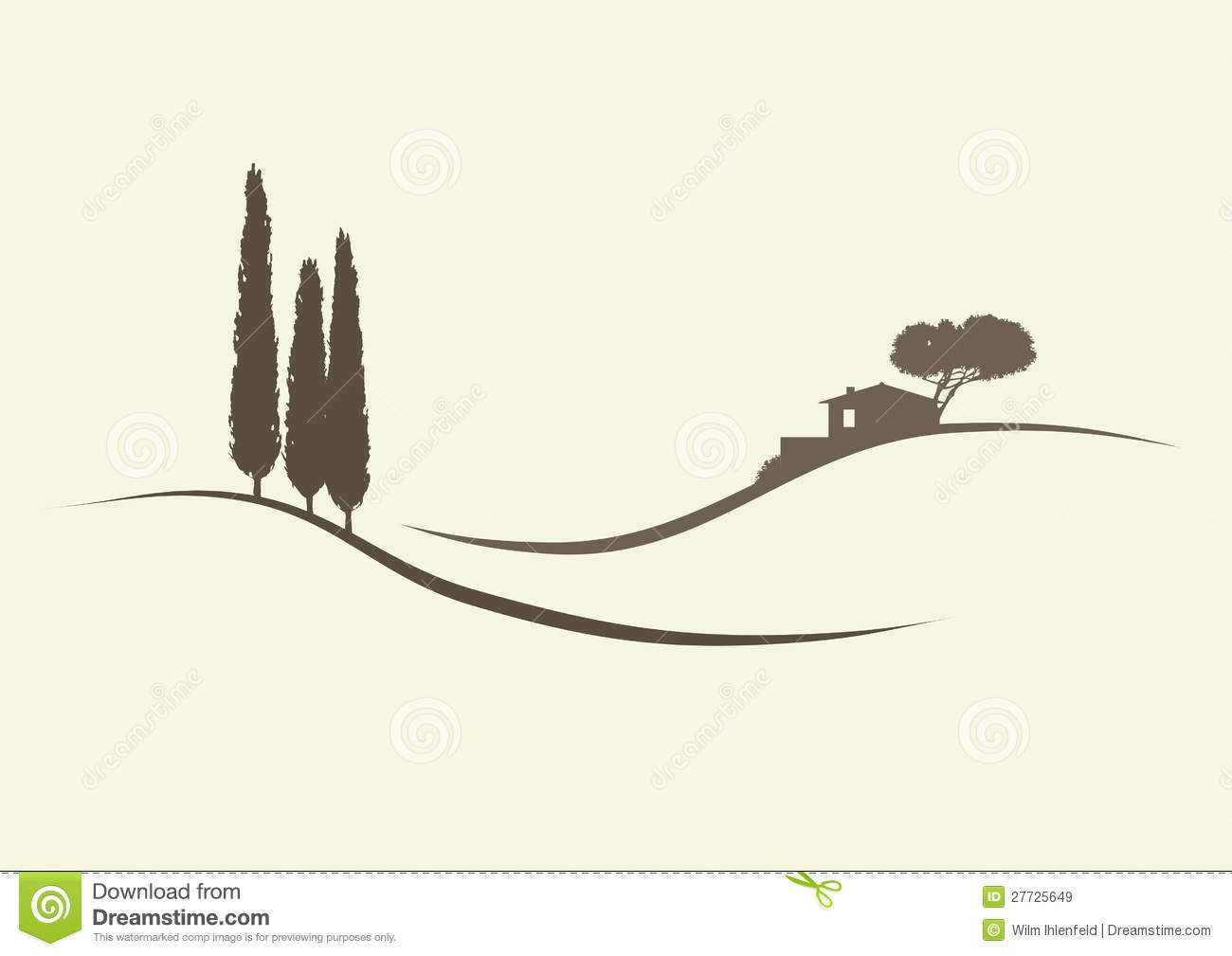 Finca And Cypress Trees Royalty Free Stock Images.