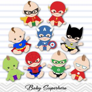 Superhero Baby Boys Clip Art, Baby Boy Superhero Clipart, 00229.
