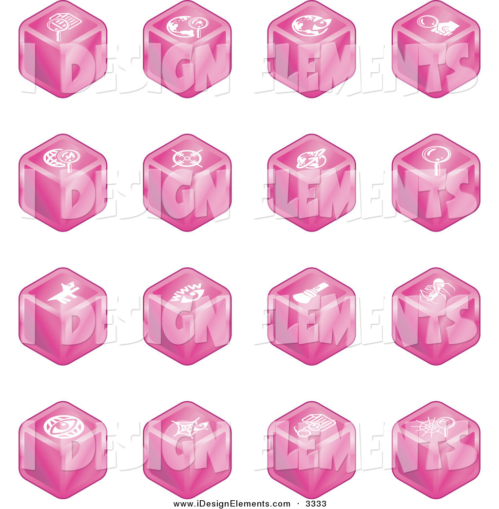 Clip Art of a Collection of 16 Pink Cube Icons of Searches, View.