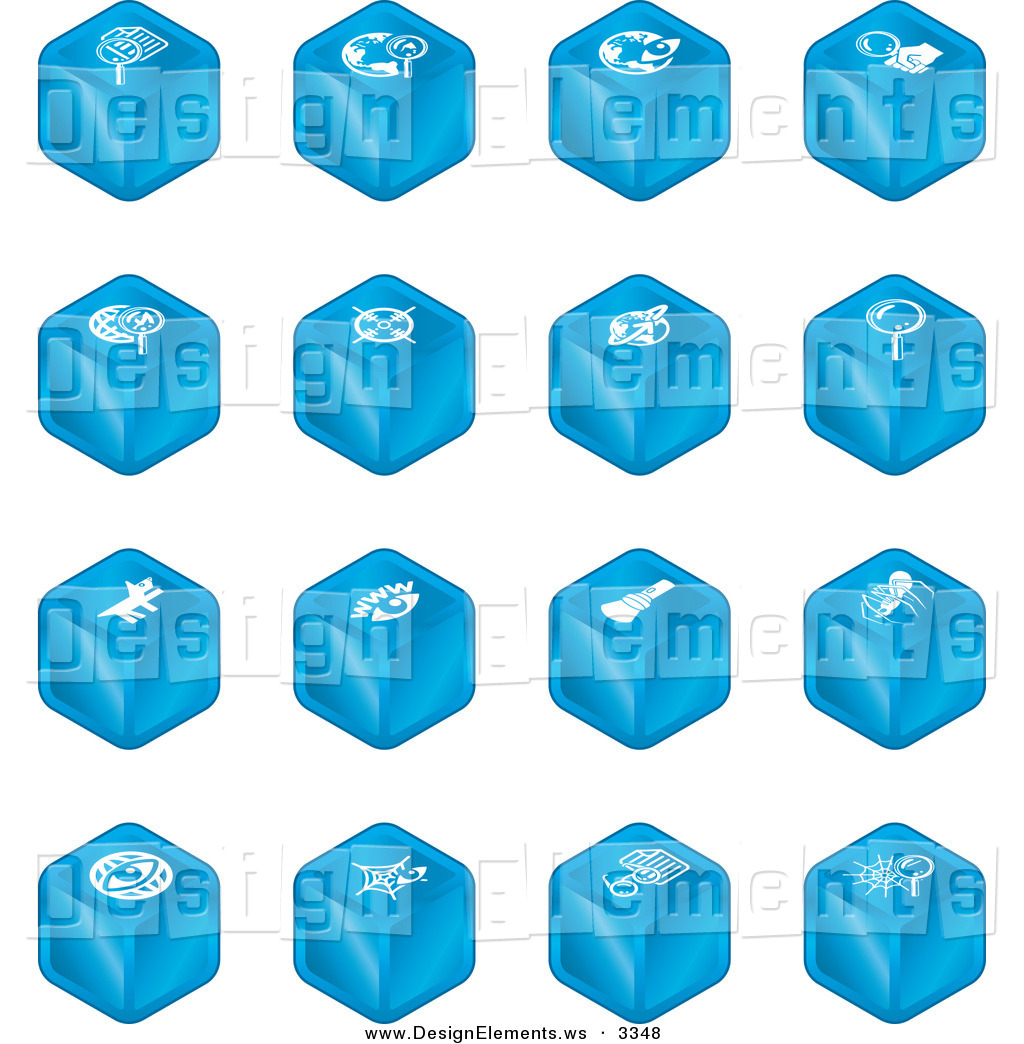 Design Element Clipart of a Set of Blue Cube Icons of Searches.