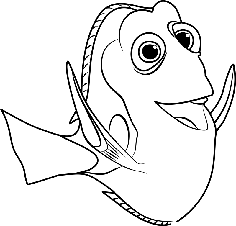 Finding Dory Fish Black And White Clipart.