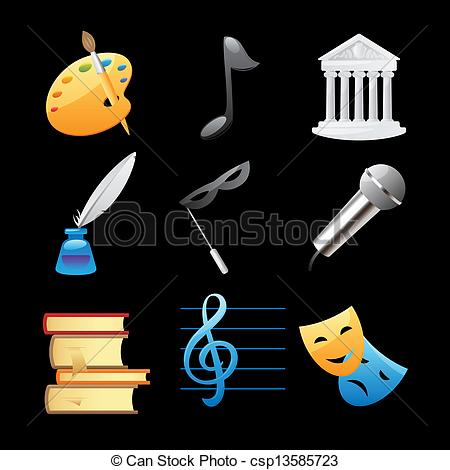 Vector Illustration of Icons for arts: fine arts, music.