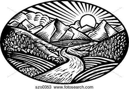 Drawing of nature scene b/w szo0353.