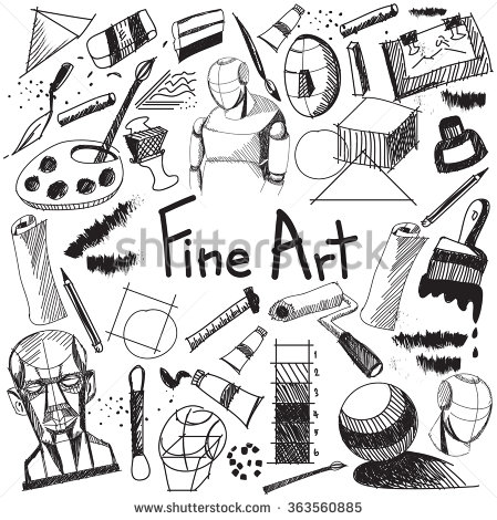 Fine art equipment and stationary handwriting doodle and tool.