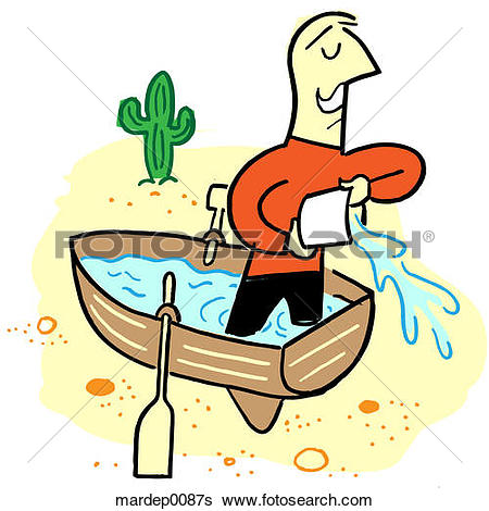 Stock Illustration of Bailing Water Out of a Boat mardep0087s.