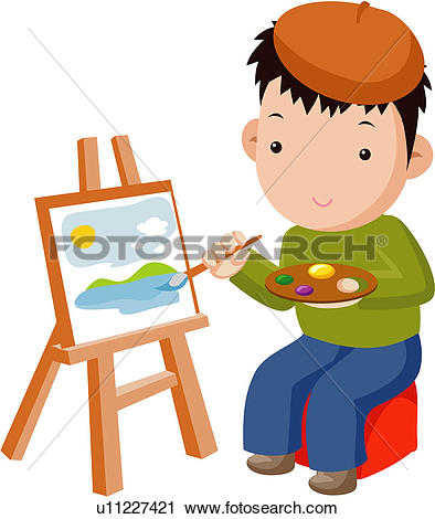 Clipart of fine arts, easel, art supplies, painter, culture.