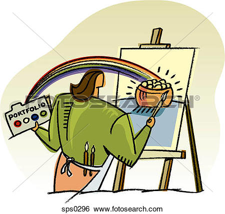 Stock Illustration of A woman painting a pot of gold sps0296.