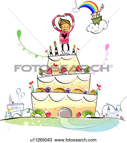 Drawing of Man standing on a birthday cake u11265043.
