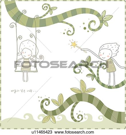 Drawing of Boy, branches, Girl, swings, Swing, boys, branch.