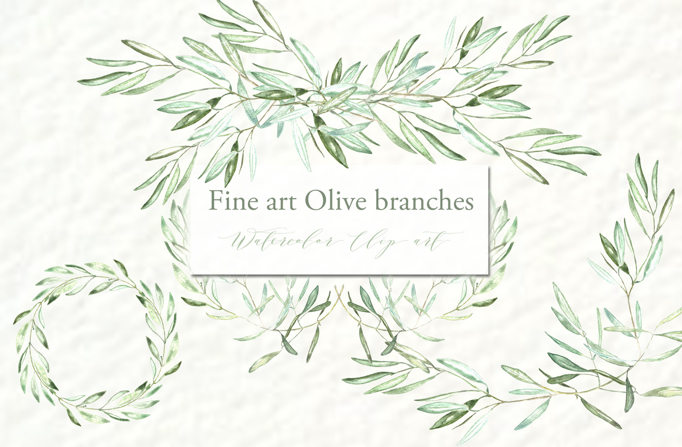 Olive branches. Watercolor clipart. by LABFcreations.