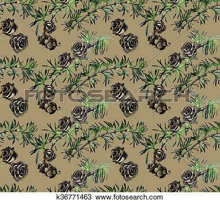 Drawing of Watercolor pattern with pine branches k36771463.