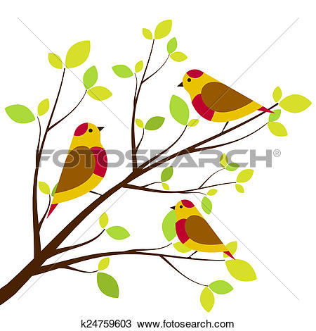 Drawing of Cute birds sitting on branches. Yellow with red dots.