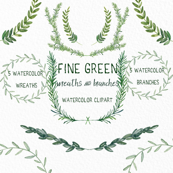 Fine Green wreaths and branches. Watercolor clip by LABFcreations.