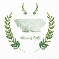 Green wreaths and branches. Watercolor clip art hand drawn. Light.