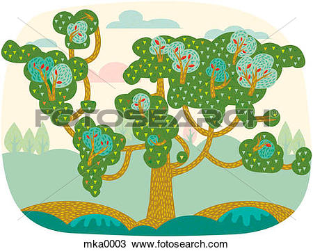 Drawing of A tree sprouting new branches mka0003.