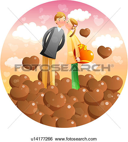 Stock Illustration of Girl and Boy Kissing amoung Chocolate hearts.