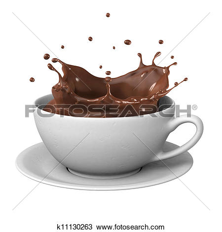 Drawing of Chocolate splash in cup k11130263.