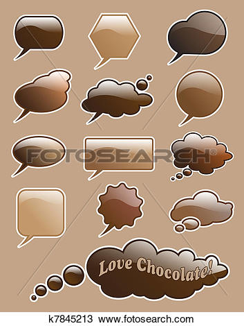 Drawing of Chocolate speech bubbles k7845213.