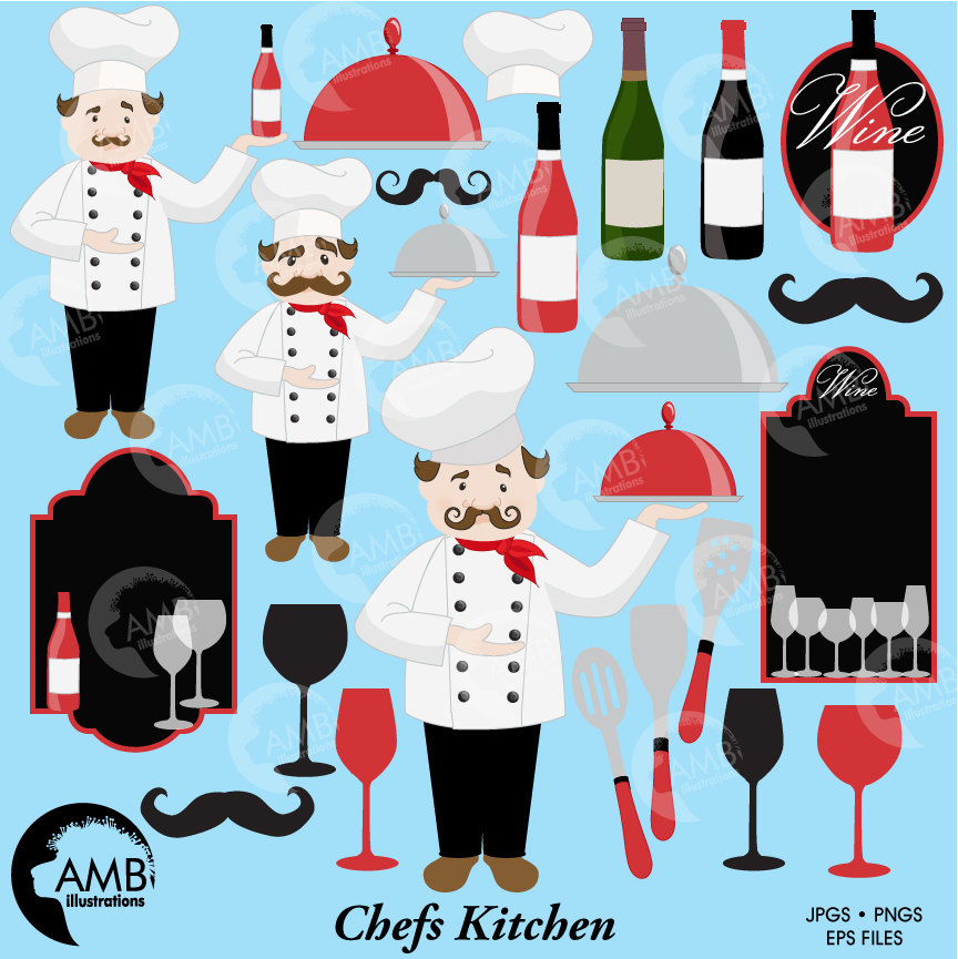 COMBO Kitchen clipart, Chefs clipart, Restaurant clipart, Cafe Clipart,  Fine Dining Clipart, Wine and Cooking Digital Papers.
