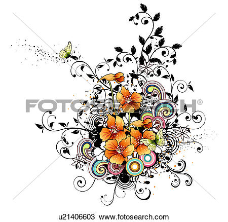 Drawing of Orange flowers with design element u21406603.