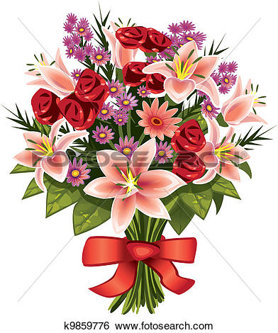 Animated bouquet flowers clip art.