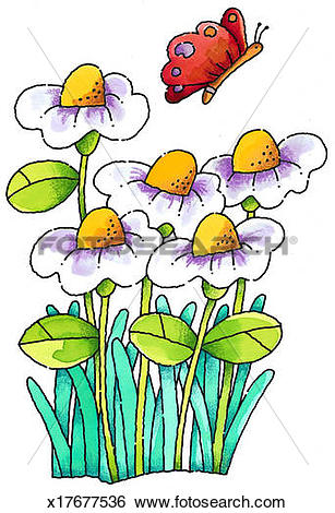 Stock Illustration of Butterfly & Flowers x17677536.