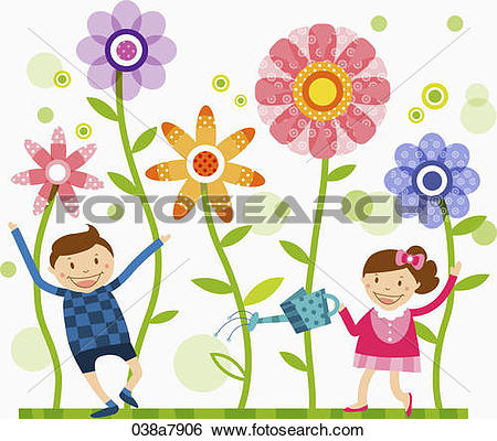 Stock Illustration of children watering flowers 038a7906.