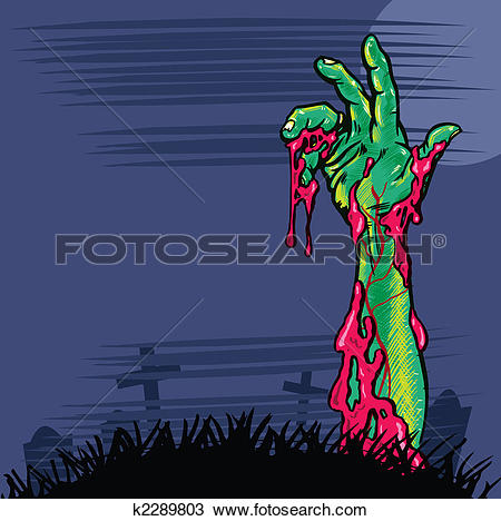 Drawing of Zombie hand coming out the ground illustration k2289803.