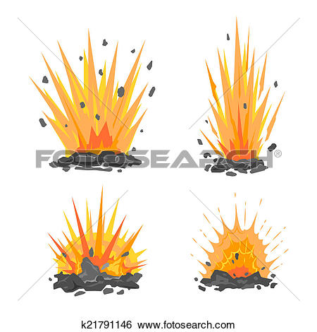 Stock Illustration of Set of cartoon ground explosions k21791146.