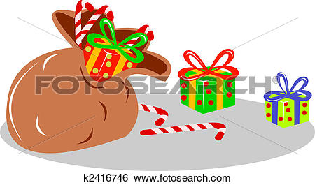 Stock Illustration of Christmas presents on ground k2416746.