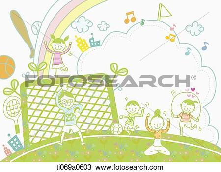 Drawing of Happy family playing on the ground ti069a0603.
