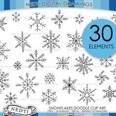 Snowflake Clip Art // Doodle Snowflake Images by LittleLlamaShoppe.