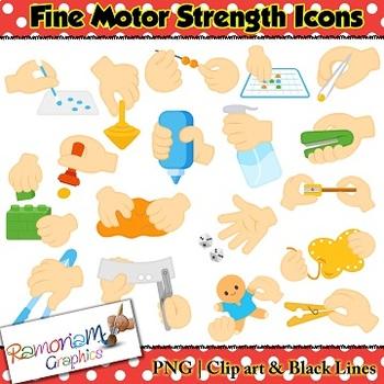 Fine Motor Skills Icons Clip art.