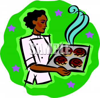 Clipart Picture of an Woman, African American Pastry Chef.