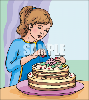 Clip Art Picture Of A Female Pastry Chef Decorating A Layered Cake.