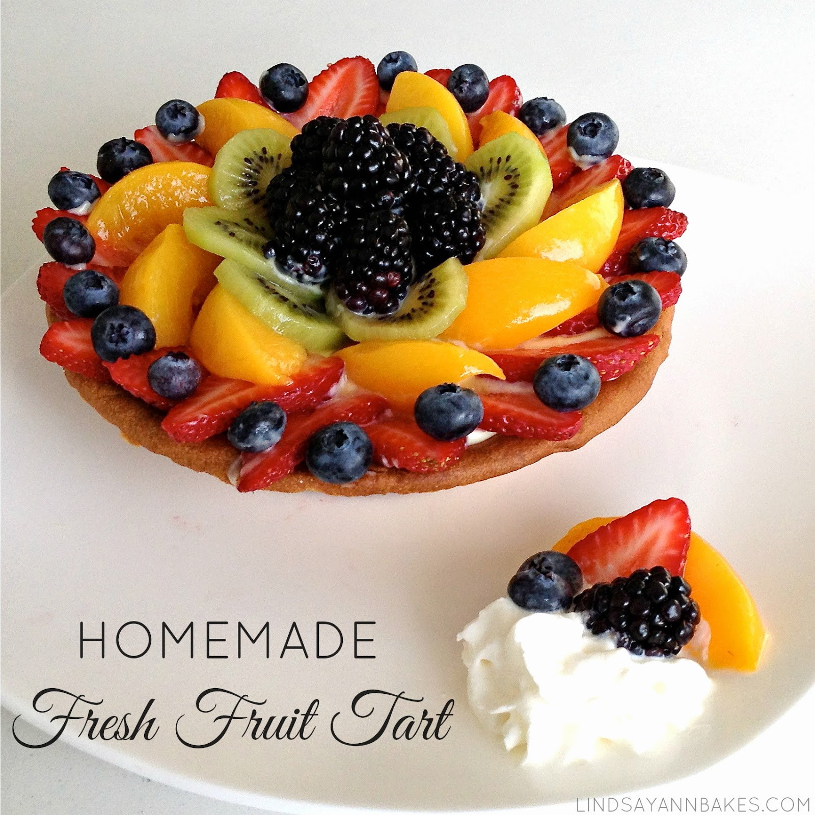Homemade Fresh Fruit Tart With Vanilla Custard Pastry Cream.