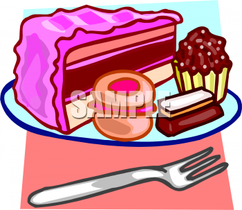 Clip Art Picture of Cake, Cupcakes, a Cookie and a Piece of.