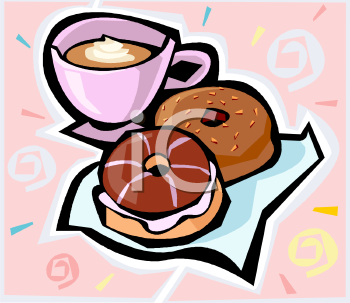 Clipart Picture Of A Cup Of Coffee With Doughnuts.
