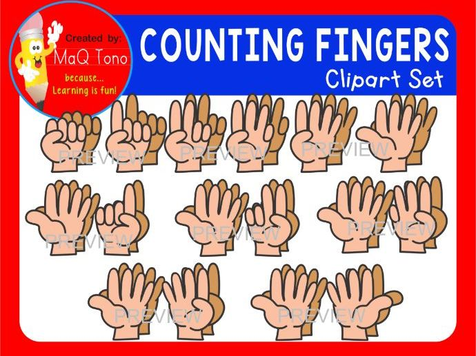 COUNTING FINGERS CLIP ART SET AND POSTERS.