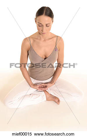 Stock Image of Woman exercising yoga, finger exercise 'Dhyani.