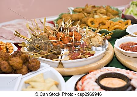 Finger food and fellowship clipart.